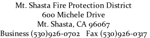 Mt. Shasta Fire Protection District